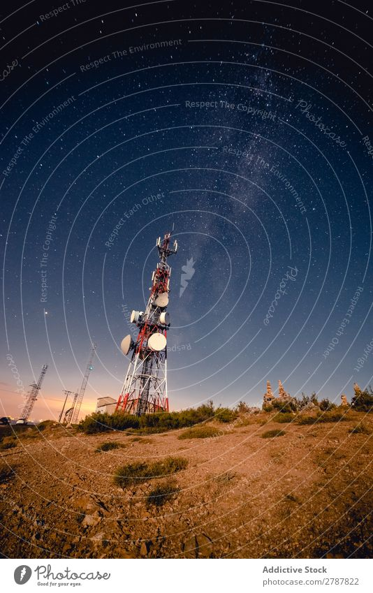Communication tower and sky with stars in evening Tower Sky Stars Evening Antenna Heaven Night Height Astronomy Universe Galaxy Conceptual design Satellite
