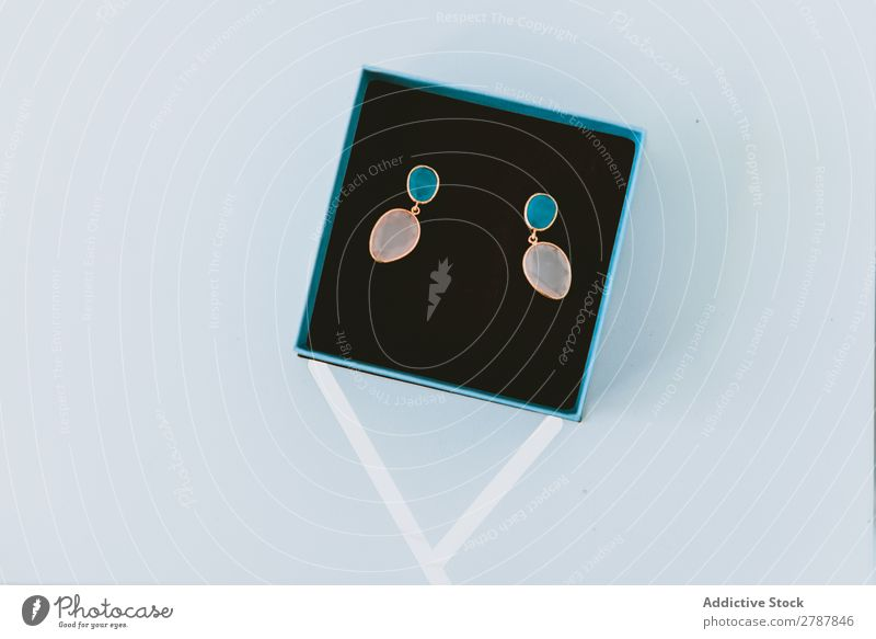 Beautiful earrings in box Earring Box Expensive Wonderful jewelery Blue Gift gem Luxury Elegant valentine Accessory Feasts & Celebrations Vacation & Travel