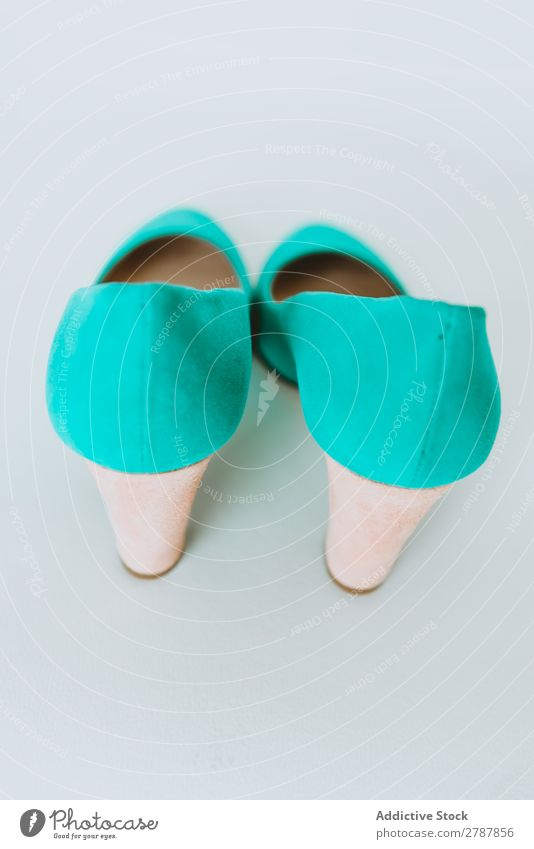 Pair of blue shoes Footwear Woman In pairs Blue heel Height New Conceptual design azure Fashion Style Elegant glamour Beautiful fashionable Luxury Wear