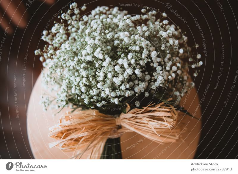 Bouquet of white flowers on stand Flower Stand White Fresh Floral Decoration