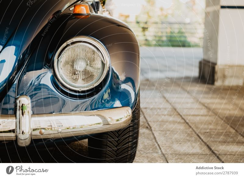 Retro car on street Car headlight Vintage Street Column Blue Beautiful Classic Old Luxury Style Drive Vehicle Antique Transport Engines Lamp Light Bumper Metal