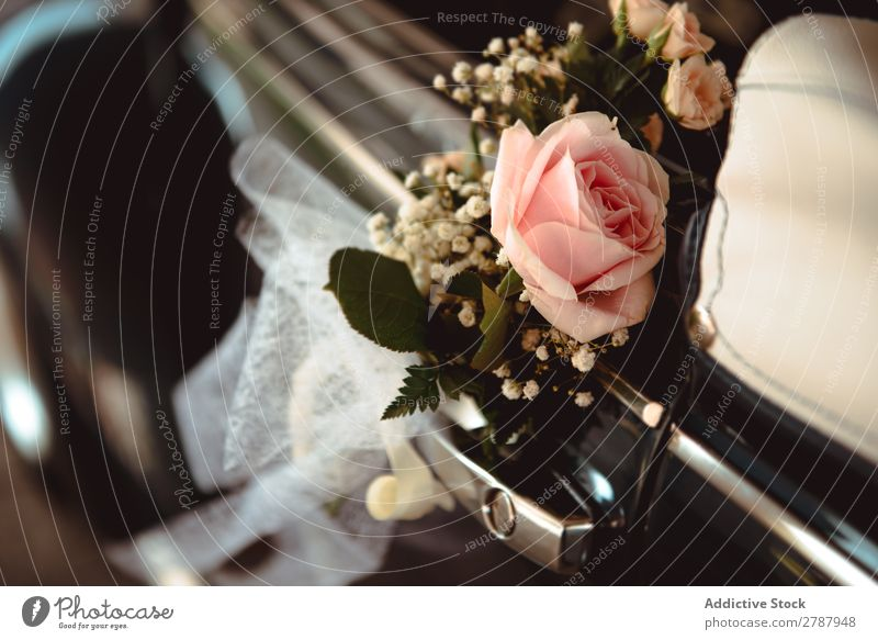 Pink flower on handle of retro car Flower Car Wedding Handle Rose Beautiful
