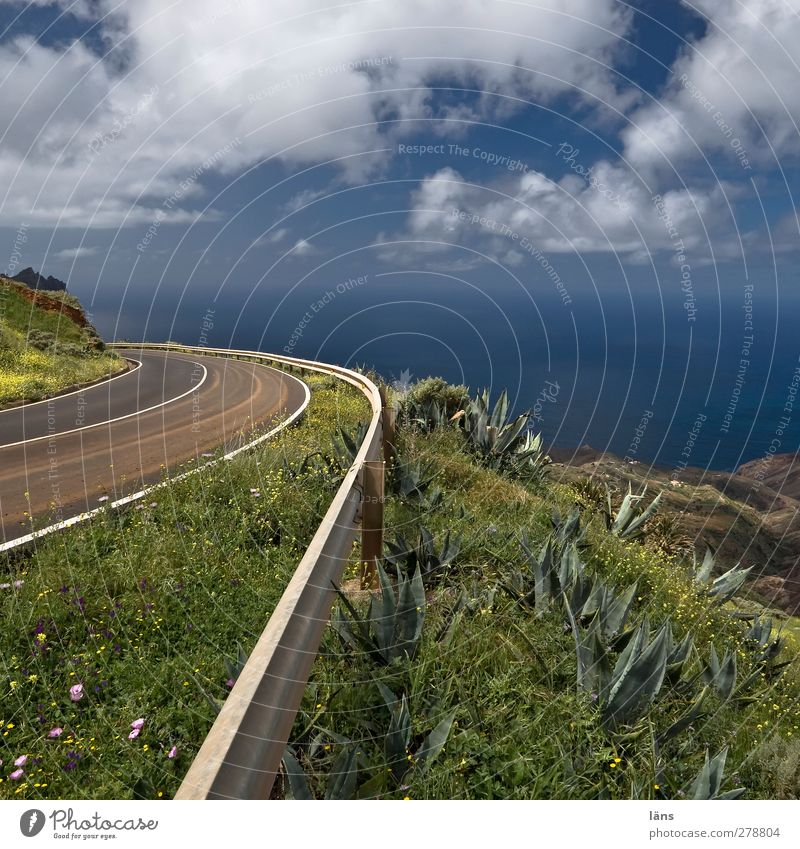 to the sea Ocean Landscape Sky Clouds Wild plant Hill Mountain Coast Traffic infrastructure Street Overpass Blue Green Crash barrier Signs and labeling