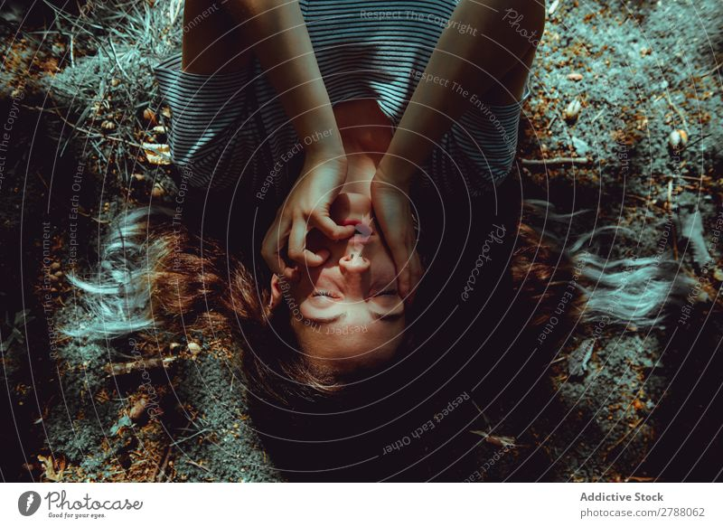 Woman lying on ground Ground Mouth Lie (Untruth) Earth Summer Lady Youth (Young adults) Relaxation Haze Conceptual design Nature Expression Resting Loneliness