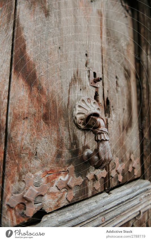 Handle on old wooden door Door Wood Old Pyrenees ornamented Material Construction Building Ancient Facade Vacation & Travel Beautiful