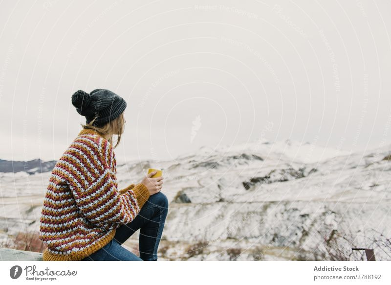 Young woman with cup between mountains Woman Mountain Cup Pyrenees Lady Sweater Hat Hill Mug Snow Wonderful Youth (Young adults) Cold Wear Cloth