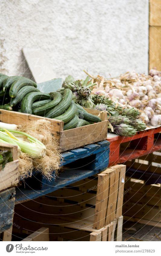 French market Vegetable Fresh Healthy Delicious Original Blue Green Red Cucumber Artichoke Garlic Markets Palett Colour photo Exterior shot Copy Space top Day