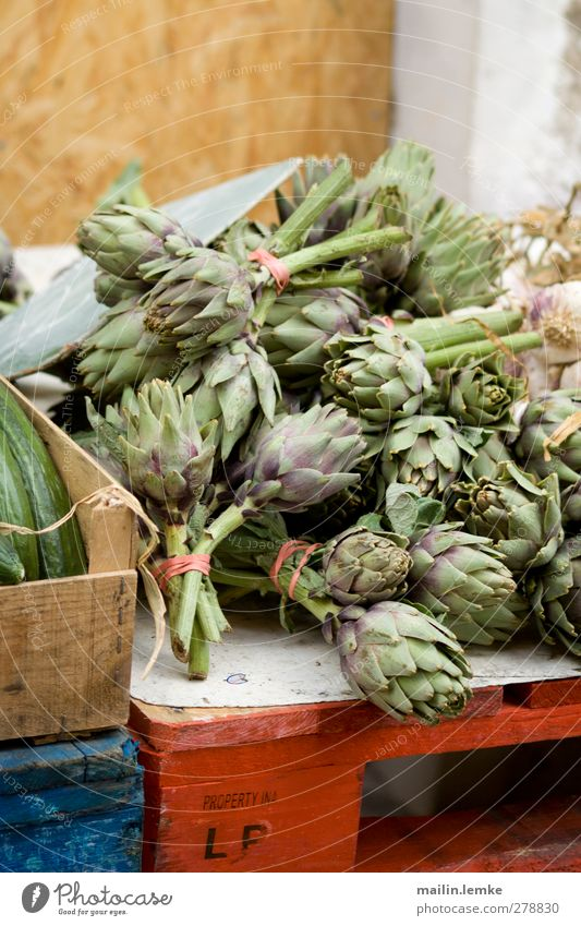 French market Food Blue Green Red Artichoke Palett France Markets Colour photo Exterior shot Day Central perspective