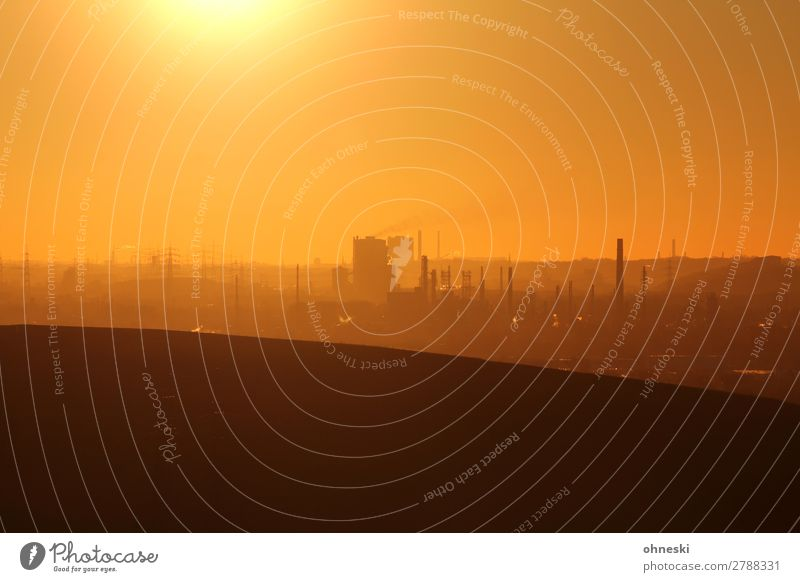 industries Landscape Air Sky Cloudless sky Sunrise Sunset Sunlight Climate Climate change Beautiful weather Hill Downtown Industrial plant Chimney