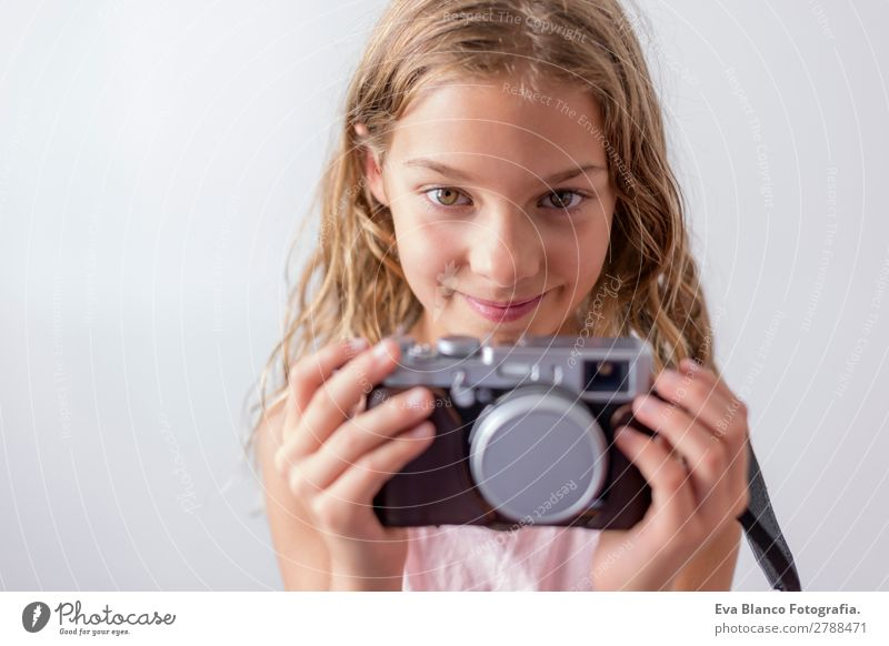 portrait of a beautiful kid using a camera Lifestyle Joy Happy Beautiful Leisure and hobbies Vacation & Travel Trip Summer Child Business Camera Technology