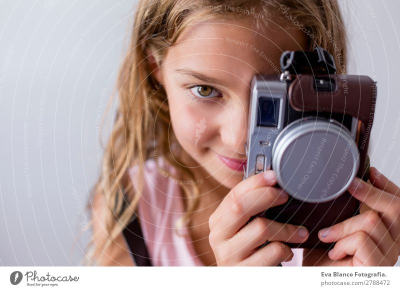 portrait of a beautiful kid using a camera Lifestyle Joy Beautiful Leisure and hobbies Vacation & Travel Trip Summer Child Business Camera Technology