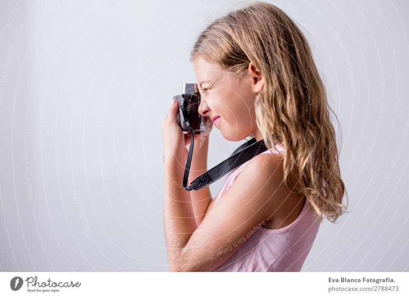 portrait of a beautiful kid using a camera Lifestyle Joy Beautiful Leisure and hobbies Vacation & Travel Trip Summer House (Residential Structure) Child