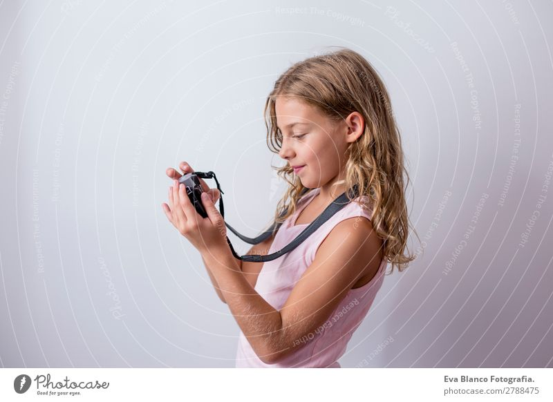 portrait of a beautiful kid using mobile phone Lifestyle Joy Beautiful Leisure and hobbies Vacation & Travel Trip Summer Child Business Camera Technology