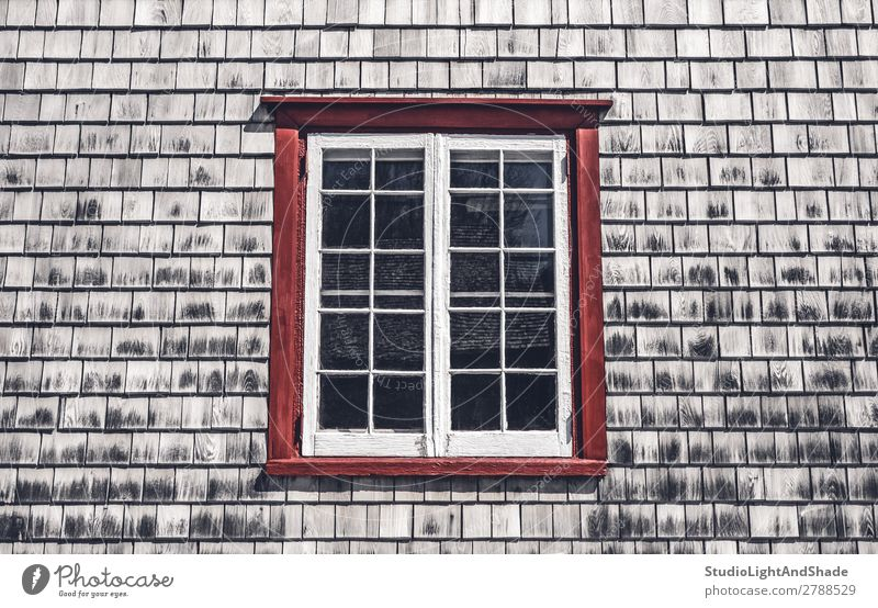 Window of a traditional country house House (Residential Structure) Landscape Village Hut Building Architecture Wood Old Faded Historic Retro Gray Red Colour