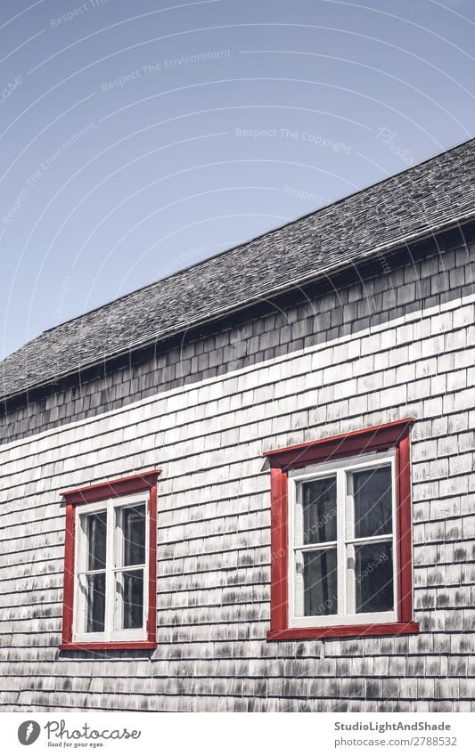 Windows of a traditional rustic house House (Residential Structure) Landscape Sky Village Hut Building Architecture Wood Old Faded Historic Retro Blue Gray Red