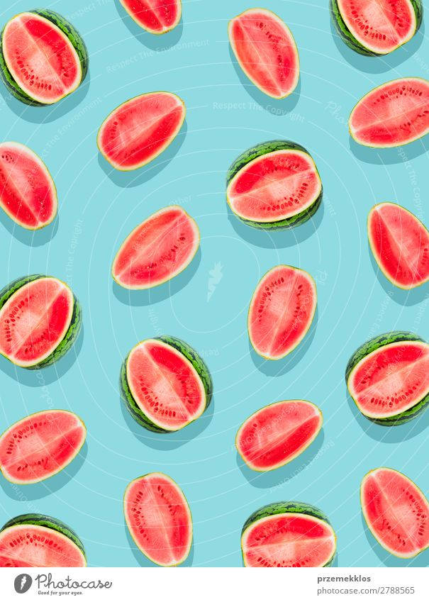 Slices of watermelon on a plain surface painted in bright blue Fruit Nutrition Eating Vegetarian diet Diet Summer Fresh Delicious Natural Juicy Clean Green Red