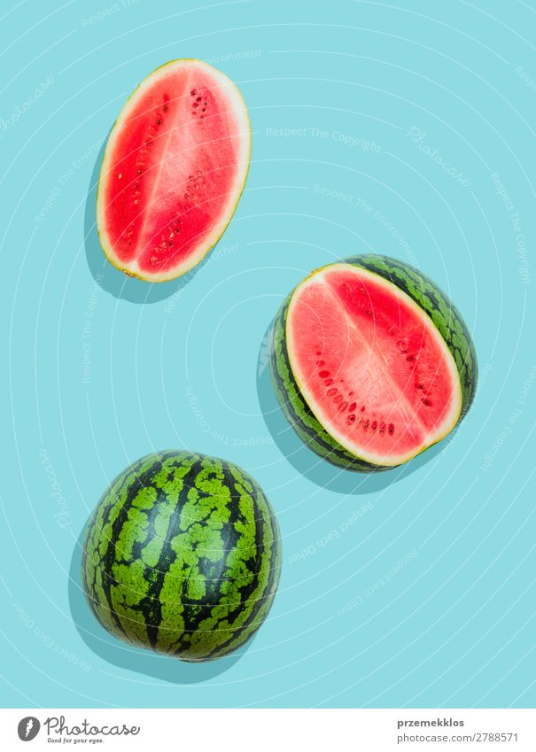 Pieces of watermelon on plain blue background Fruit Nutrition Eating Vegetarian diet Diet Summer Fresh Bright Delicious Natural Juicy Clean Green Red flat food