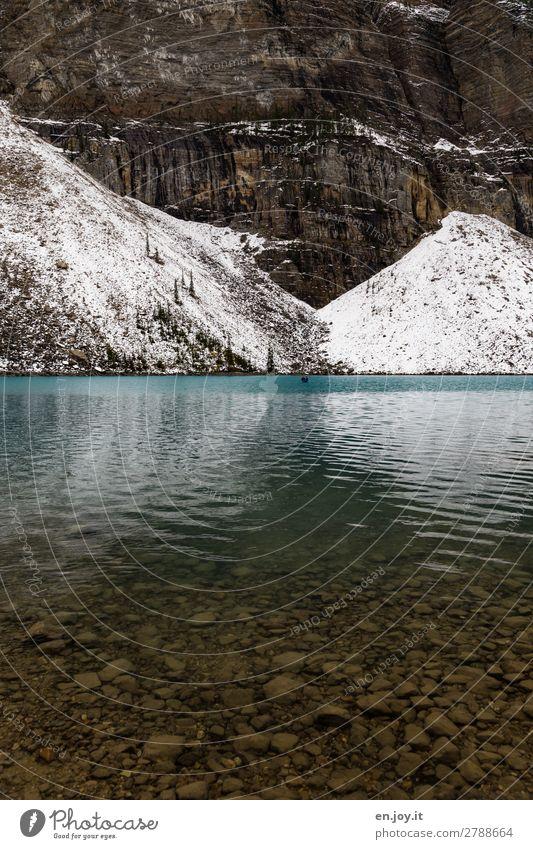 Vacation & Travel Nature Landscape Mountain Snow Lake Rock Lakeside Canada Wall of rock Mountain lake North America Alberta Banff National Park Moraine lake