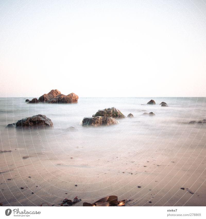 Blue Ocean Beach Calm Yellow Rock Waves Soft Cloudless sky Pacific beach