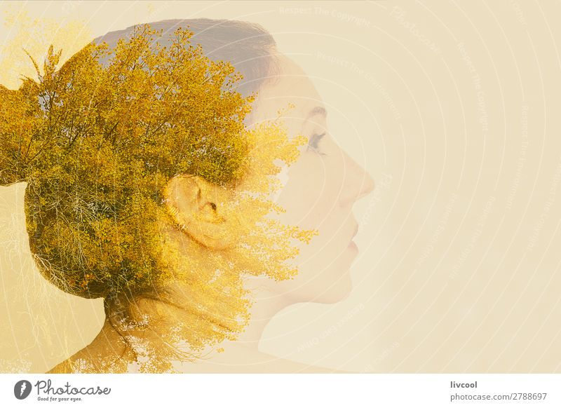 woman on tree Woman Human being Sky Nature Plant Beautiful Tree Relaxation Loneliness Leaf Calm Face Adults Yellow Senior citizen Feminine