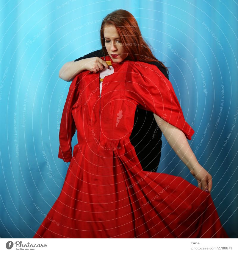 fitting Drape Feminine Woman Adults 1 Human being Dress Sweater Cloth Red-haired Long-haired Observe Think To hold on Looking Curiosity Beautiful Passion