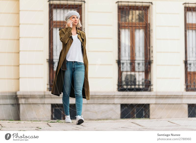 Portrait of a Young woman using her mobile phone. Woman Portrait photograph Youth (Young adults) Blonde Happy Girl Beautiful