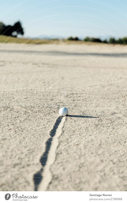 Golf ball in sand bunker Sand Ball Trap Swing plugged Day Sports Leisure and hobbies hazard White Light embed Joy Problem buried Relaxation Warmth Sun enjoyment