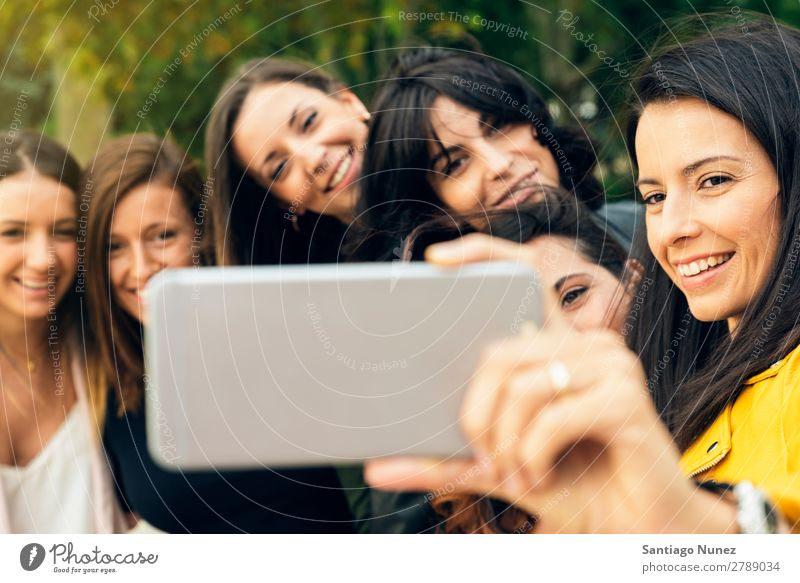 Fun girls taking photos with a smartphone. Selfie Take Friendship Joy Group Woman Girl Happy Smiling Beautiful Summer Human being Youth (Young adults) Lifestyle