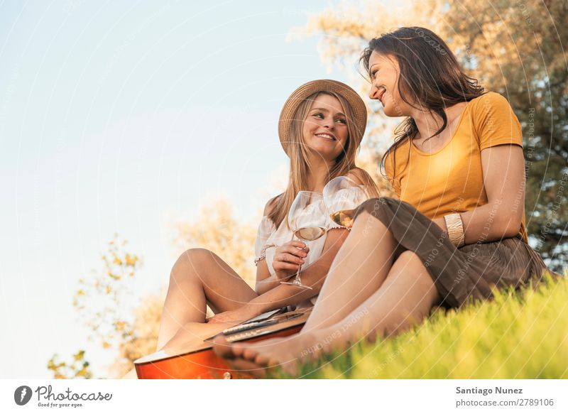 Beautiful women drinking wine in the park. Woman Picnic Friendship Youth (Young adults) Park Happy Wine Glass