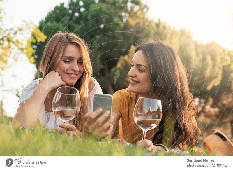 Beautiful women using mobile in the park. Woman Picnic Friendship Youth (Young adults) Park Happy Summer Human being