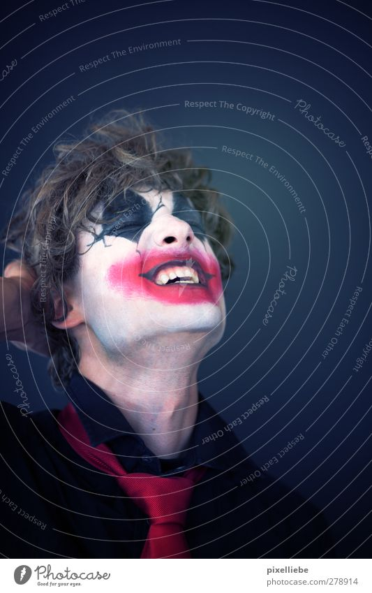 insane Make-up Carnival Hallowe'en Human being Masculine Young man Youth (Young adults) Man Adults Face 1 18 - 30 years Circus Tie Curl Smiling Laughter Threat