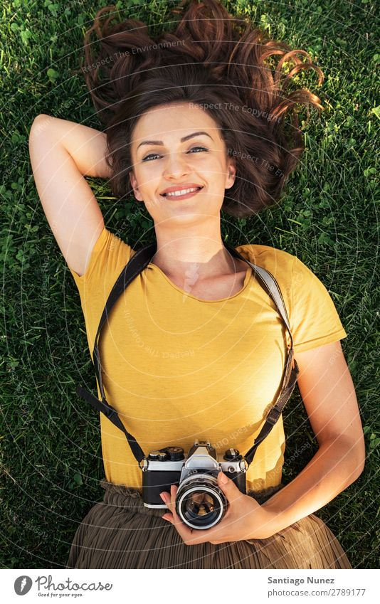 Portrait of a smiling young photographer woman. Photographer Woman Photography Camera Youth (Young adults) Girl Digital White Leisure and hobbies 1 Take