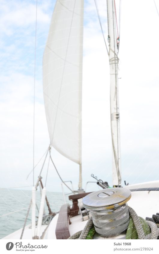 Sun,wind,balaton! Sailing Water Horizon Summer Beautiful weather Lake Sailboat On board Blue Brown Gray Green White Joie de vivre (Vitality) Adventure Joy