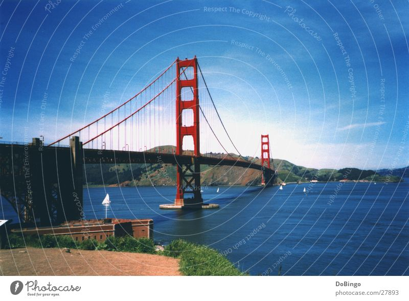 Golden Gate Golden Gate Bridge San Francisco Summer Ocean Americas Red Manmade structures Suspension bridge Lake Construction Clouds Watercraft California