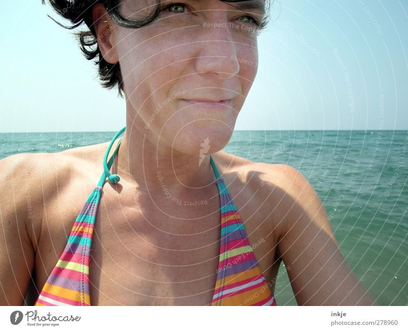 summer Joy Life Well-being Swimming & Bathing Leisure and hobbies Vacation & Travel Summer Summer vacation Sun Sunbathing Ocean Woman Adults Face 1 Human being