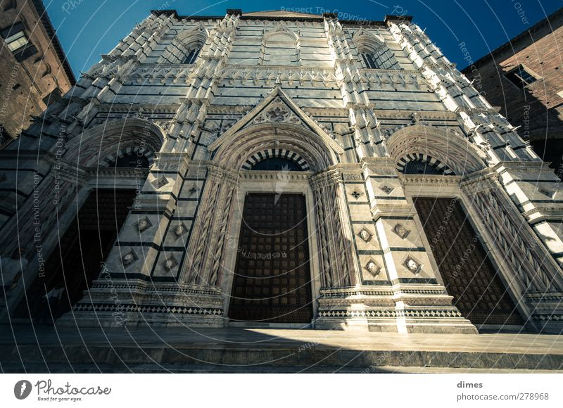 The cathedral in Siena (Italy) Dome Wall (barrier) Wall (building) Door Tourist Attraction Historic Colour photo Exterior shot Deserted Copy Space left