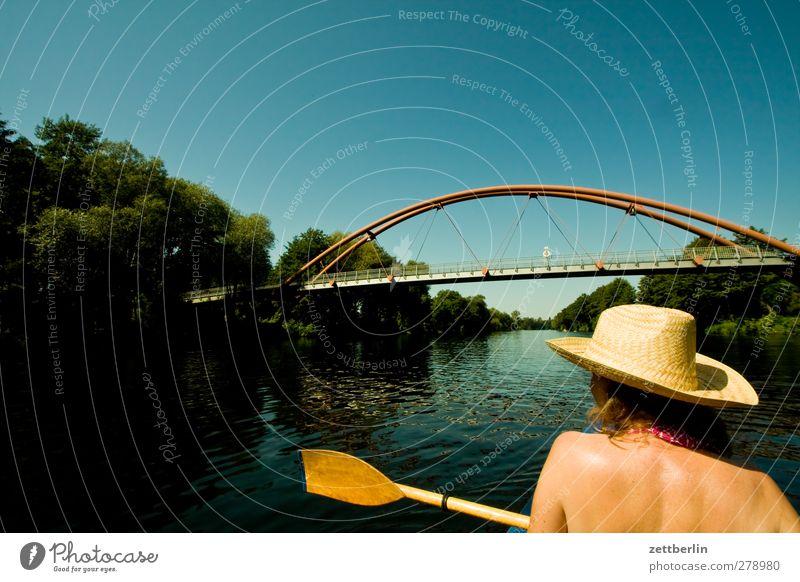 Human being Woman Water Vacation & Travel Summer Adults Feminine Sports Head Lake Watercraft Back Leisure and hobbies Trip Adventure Bridge