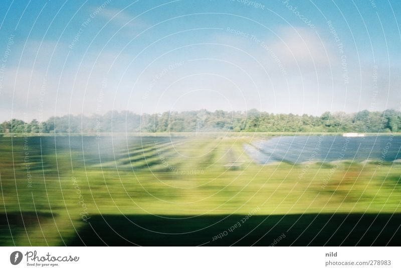 time travelling Technology Solar Power Environment Nature Landscape Sky Cloudless sky Sun Summer Climate Beautiful weather Field Forest Train travel