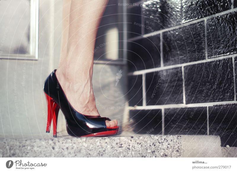 Red Black Adults Feminine Legs Fashion Feet Footwear Stairs Wait Elegant Stand 45 - 60 years Tile Toes Vessel