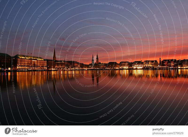 Hamburg my pearl Tourism City trip Sunrise Sunset Beautiful weather River Alster Germany Europe Port City Old town Skyline Landmark Romance Colour photo