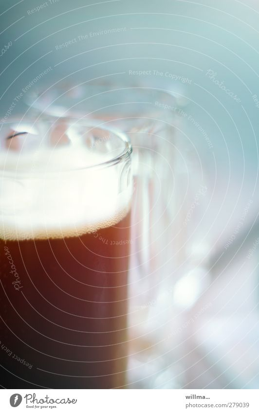 the right emptied Beverage Beer Glass Beer glass Drinking Gastronomy Delicious Brown Full Empty Alcoholism Light blue Froth dark beer Colour photo Exterior shot