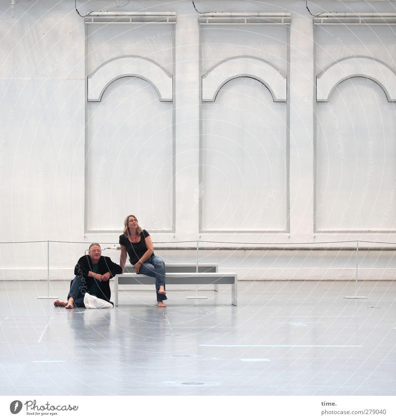 Enjoying Art Spheres Bench Floor covering Human being Woman Adults Man 2 Manmade structures Architecture Museum Hall Wall (barrier) Wall (building) Ornament