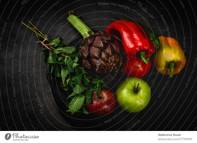 Mix of fresh vegetables Vegetable Food Detox assortment Background picture Apple Peppers turnip Tomato Artichoke Mint Diet Fresh Green Healthy Ingredients Mixed