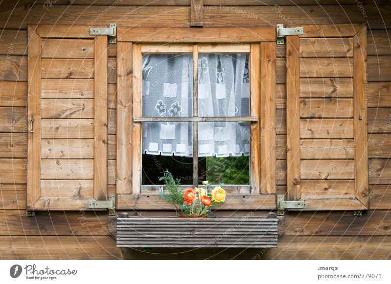 homeland Black Forest house Flat (apartment) Flower Facade Window Window pane Shutter Curtain Wood Old Beautiful Safety (feeling of) Home country Native