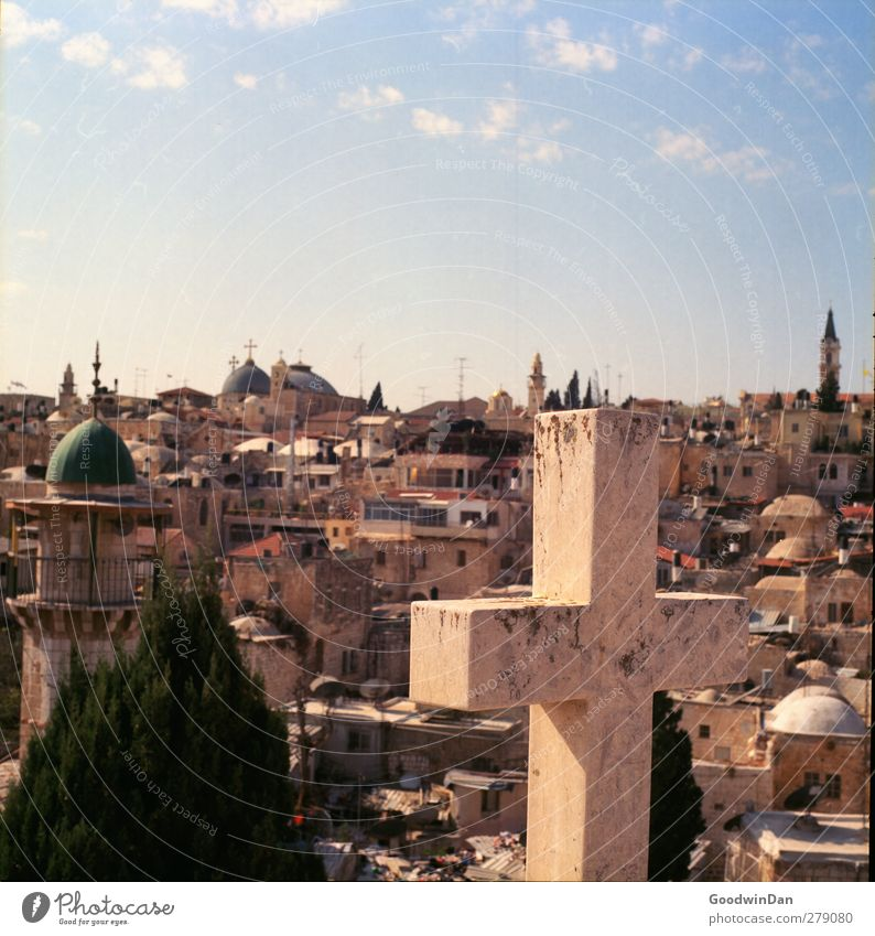 The origin. The end? West Jerusalem Town Downtown Old town Overpopulated House (Residential Structure) Tower Facade Crucifix Warmth Colour photo Exterior shot