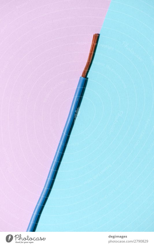 Electrical cable on pink and blue background. Industry Technology Blue Pink Energy wire pastel cables electricity power copper Electrician wiring close Supply