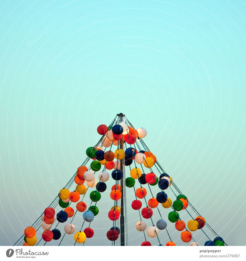 light tent Party Rope Cloudless sky Balloon Sphere Line String Hang Illuminate Multicoloured Tent Hot Air Balloon balloons Subdued colour Exterior shot Pattern