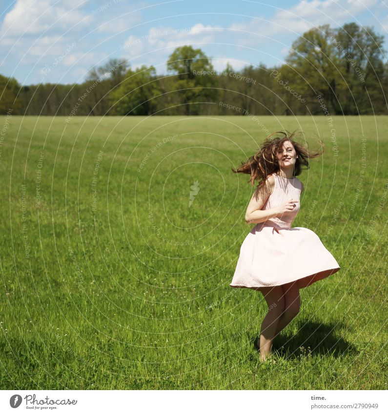 Maike Feminine Woman Adults 1 Human being Spring Beautiful weather Meadow Forest Dress Brunette Long-haired Movement Relaxation Looking Dance Happiness Emotions