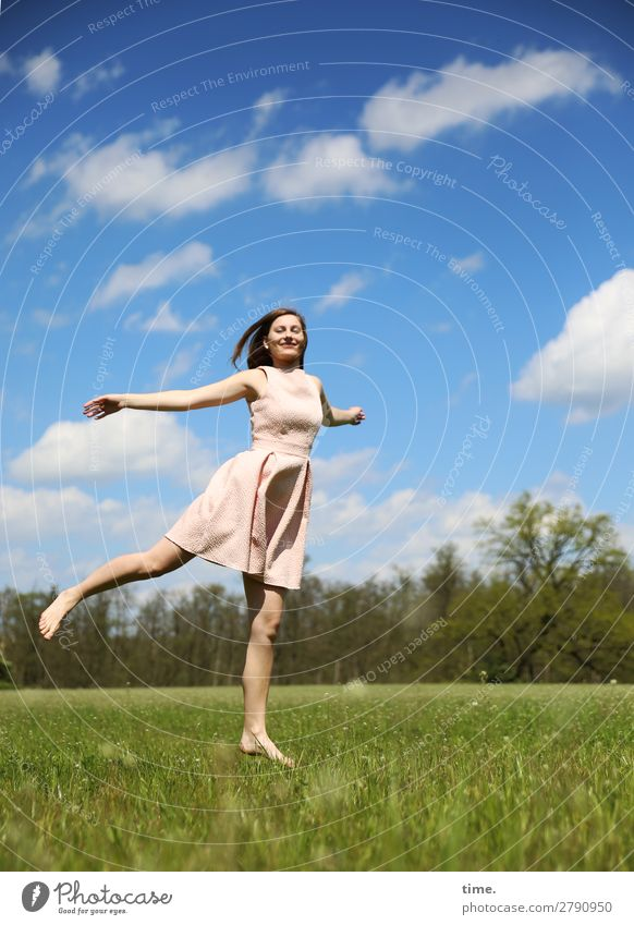 feels like spring Feminine Woman Adults 1 Human being Sky Clouds Spring Beautiful weather Meadow Forest Dress Barefoot Brunette Long-haired Movement Relaxation