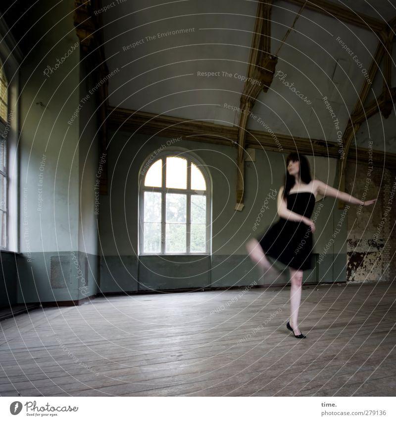 Unfinished Ballroom Story (IV) Elegant Dance Dancer Hall Window Dress Beautiful Athletic Joie de vivre (Vitality) Contentment Movement Wooden floor Colour photo